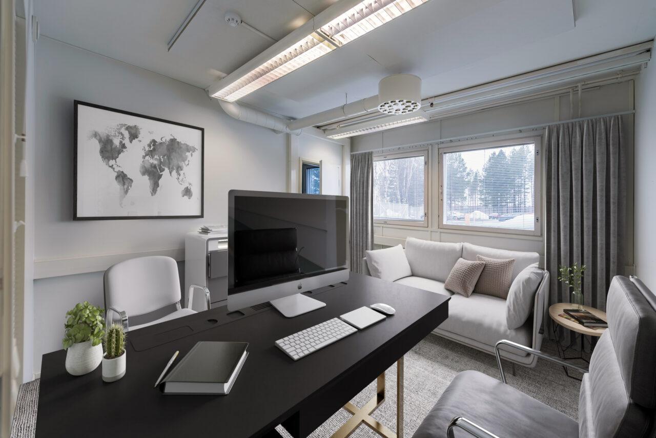 Verkkokaupan perustaminen sopii eri toimialojen yrityksille ja on merkki digitaalisesti modernista toimijasta. Yrittäjän työhuone, jossa on moderni laitteisto verkkokaupan pyörittämiselle. Ruskealla tyylikkäällä työpöydällä on vaaleanharmaa tietokone, näppäimistö ja hiiri sekä musta muistilehtiö ja kynä. Seinällä on maanosien kartta. Oikealla seinustalla on kaksi ikkunaa, joiden sälekaihtimet ovat auki. Ikkunoiden vieressä on valkoinen sohva.