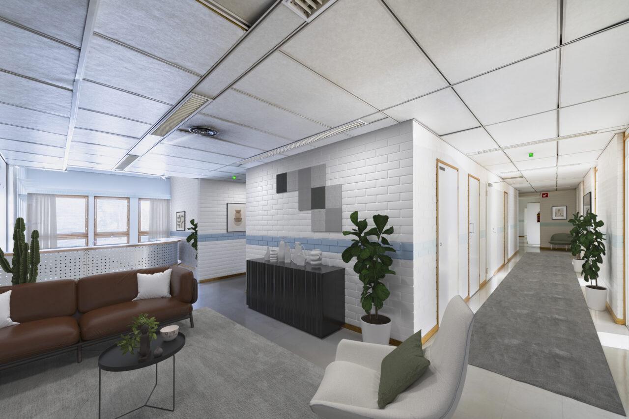 Esimerkissä näkyy kiinteistön (Toritalo) toisesta kerroksessa sijaitseva aula, joka on tässä digitaalisesti stailattu siten, että aulatilaan on sijoitettu ruskea nahkasohva, pieni musta pöytä, valkoinen pehmytkankainen asiakastuoli. Seinillä on sisustustauluja. Tilassa on myös viherkasveja ja lattiamattoja. Tila jalkautuu aulan jälkeen kahteen pitkään käytävään.