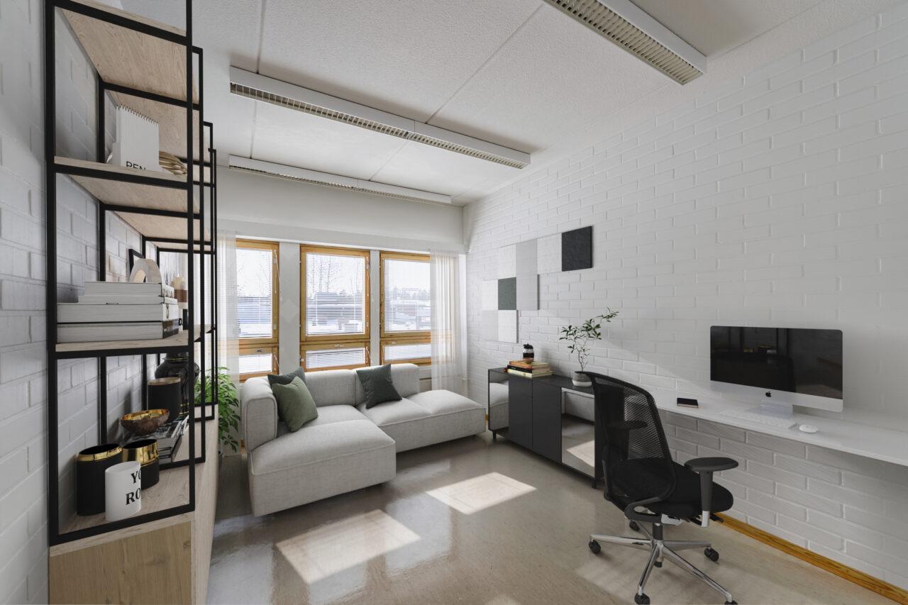 Toritalo ja sen yksi työhuoneista digitaalisesti stailattuna. Kuvassa tyylikkäästi sisustettu työhuone, joka voi olla esimerkiksi arkkitehdin, suunnittelijan tai jonkun asiantuntijan työhuone. Vasemmassa reunassa moderni kirjahylly, jossa kirjoja ja erilaisia tavaroita. Huoneen päässä ikkunoiden vieressä on pehmeä vaaleapintainen sohva, jossa on sisustustyynyjä. Oikealla seinän vieressä on valkoinen työtaso, jossa on tyylikäs ulkoinen näyttö (laajakuva). Lattialla on työtuoli.
