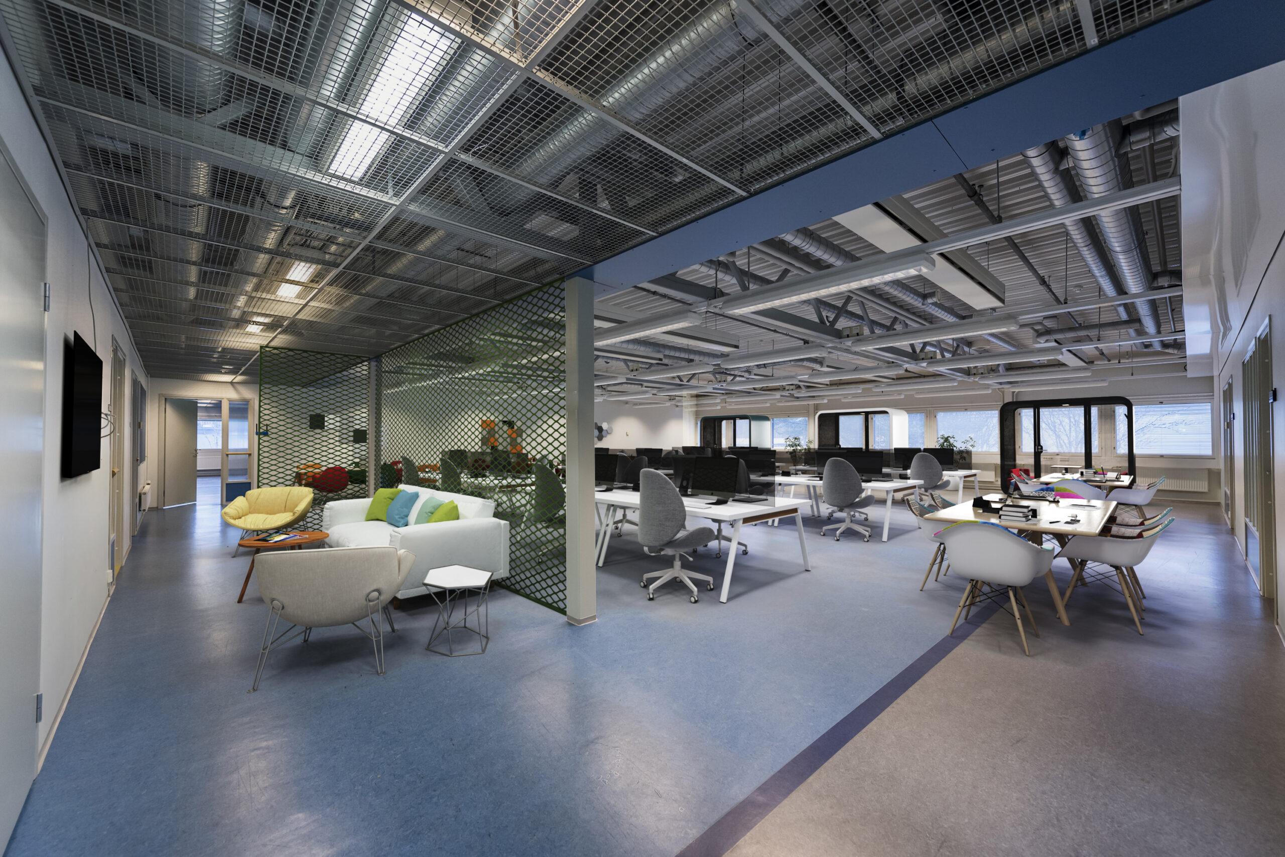 Digitaalisesti stailattu esimerkki modernista monitilatoimistosta (Toimitilat Oulu). Suuri sisätila, jossa on erilaisia tiloja ja työpisteitä työn tekemiselle ja tauoille. Oikeassa reunassa kaksi tiimityöpistettä. Vasemmassa reunassa väliseinällä erotettu taukopiste, jossa sohvia ja älytelevisio. Taustalla työpisteitä.