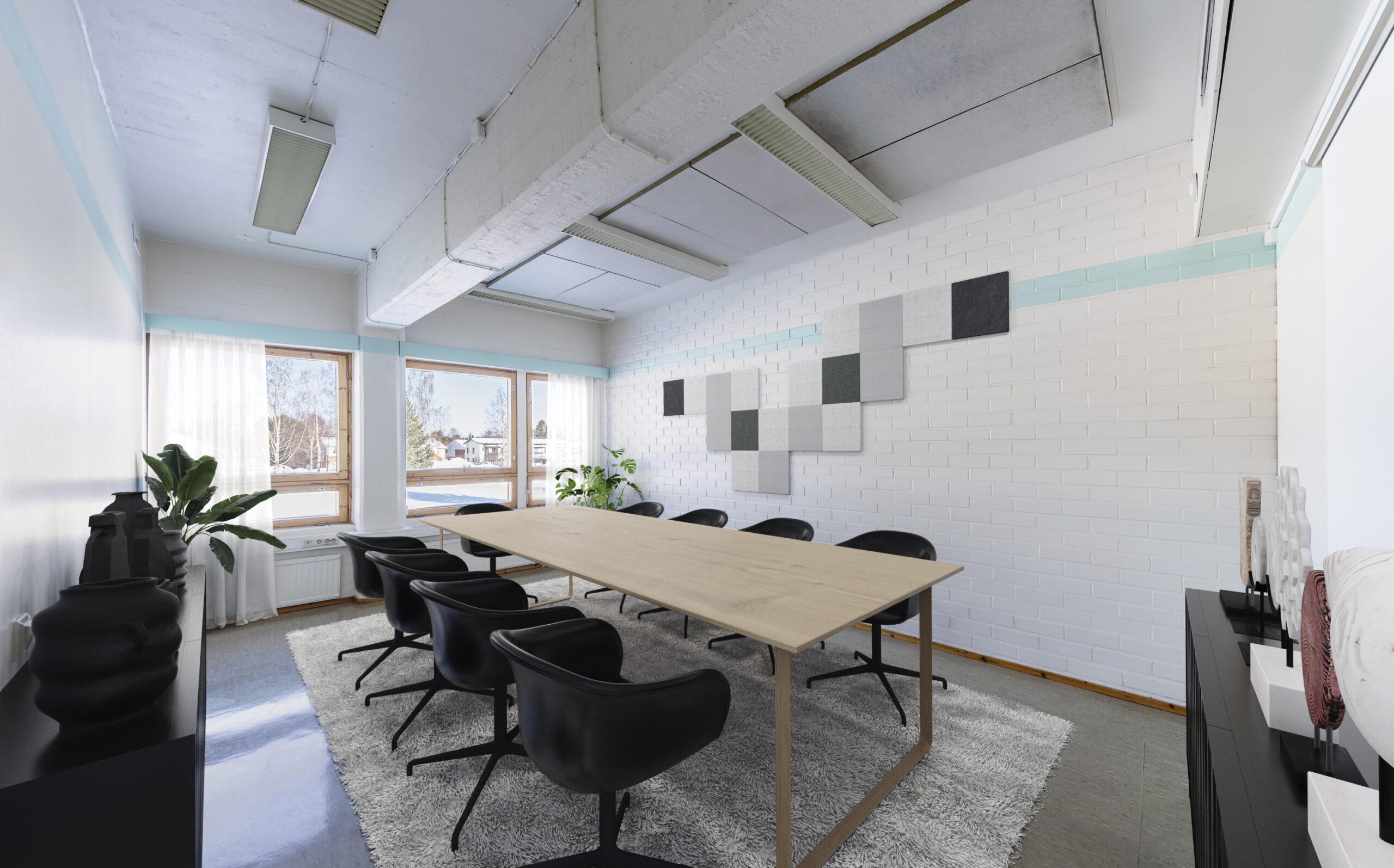 Digitaalisesti stailattu neuvotteluhuone, jossa keskellä moderni puupintainen pöytä ja yhdeksän mustaa tuolia työpöydän ympärillä. Viherkasveja sekä muuta sisustusta. Ikkunoista paistaa aurinko. Työhuoneen vuokraus onnistuu tästäkin toimitilasta.